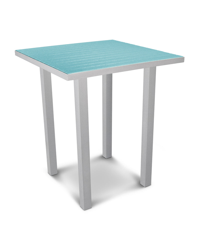 "ATB36FASAR Euro 36"" Square Bar Table in Textured Silver and Aruba"