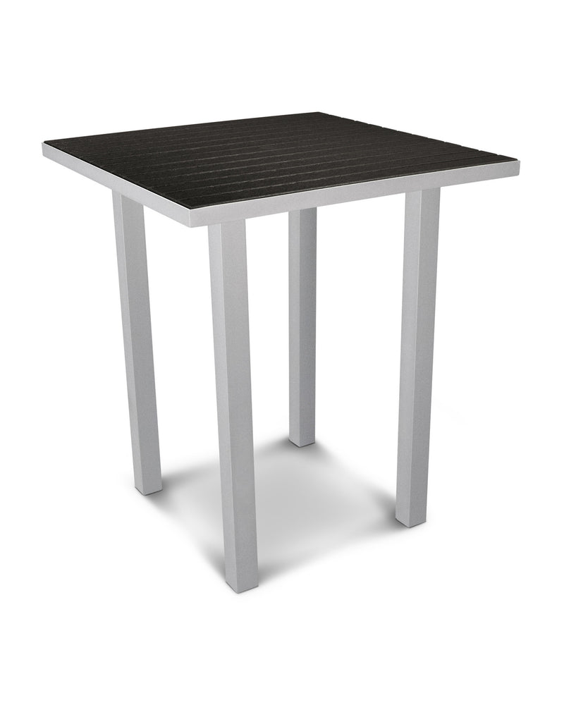 "ATB36FASBL Euro 36"" Square Bar Table in Textured Silver and Black"