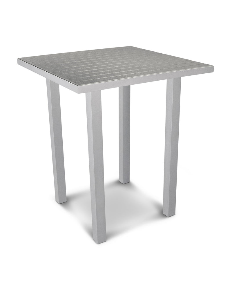 "ATB36FASGY Euro 36"" Square Bar Table in Textured Silver and Slate Grey"