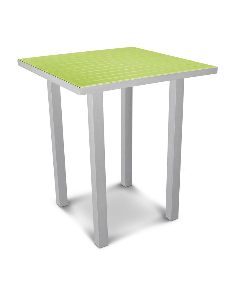 "ATB36FASLI Euro 36"" Square Bar Table in Textured Silver and Lime"