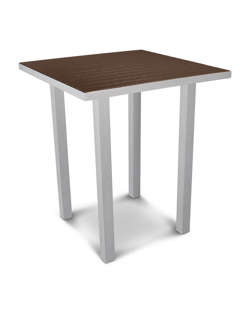 "ATB36FASMA Euro 36"" Square Bar Table in Textured Silver and Mahogany"
