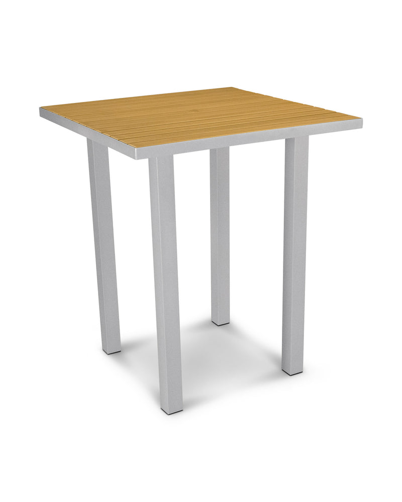 "ATB36FASNT Euro 36"" Square Bar Table in Textured Silver and Plastique Natural Teak"