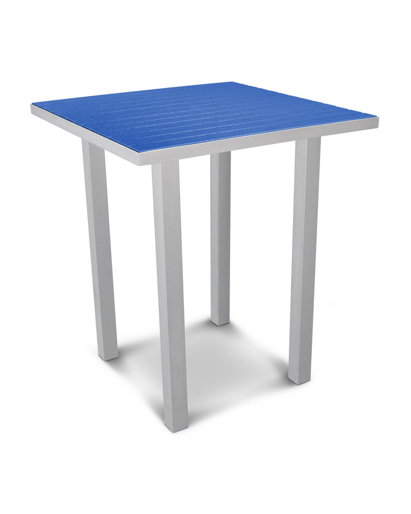 "ATB36FASPB Euro 36"" Square Bar Table in Textured Silver and Pacific Blue"