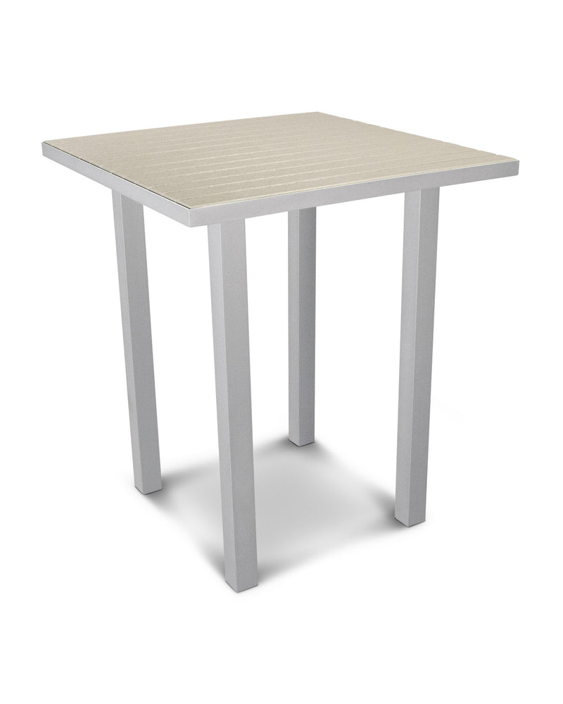 "ATB36FASSA Euro 36"" Square Bar Table in Textured Silver and Sand"