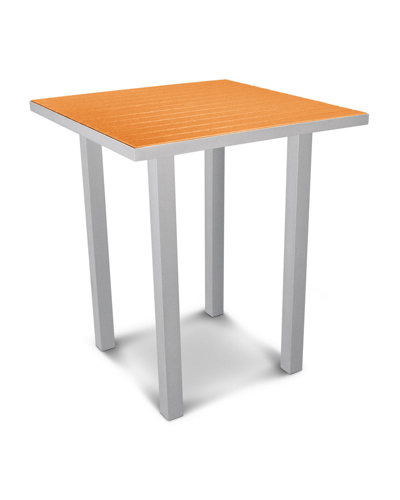 "ATB36FASTA Euro 36"" Square Bar Table in Textured Silver and Tangerine"