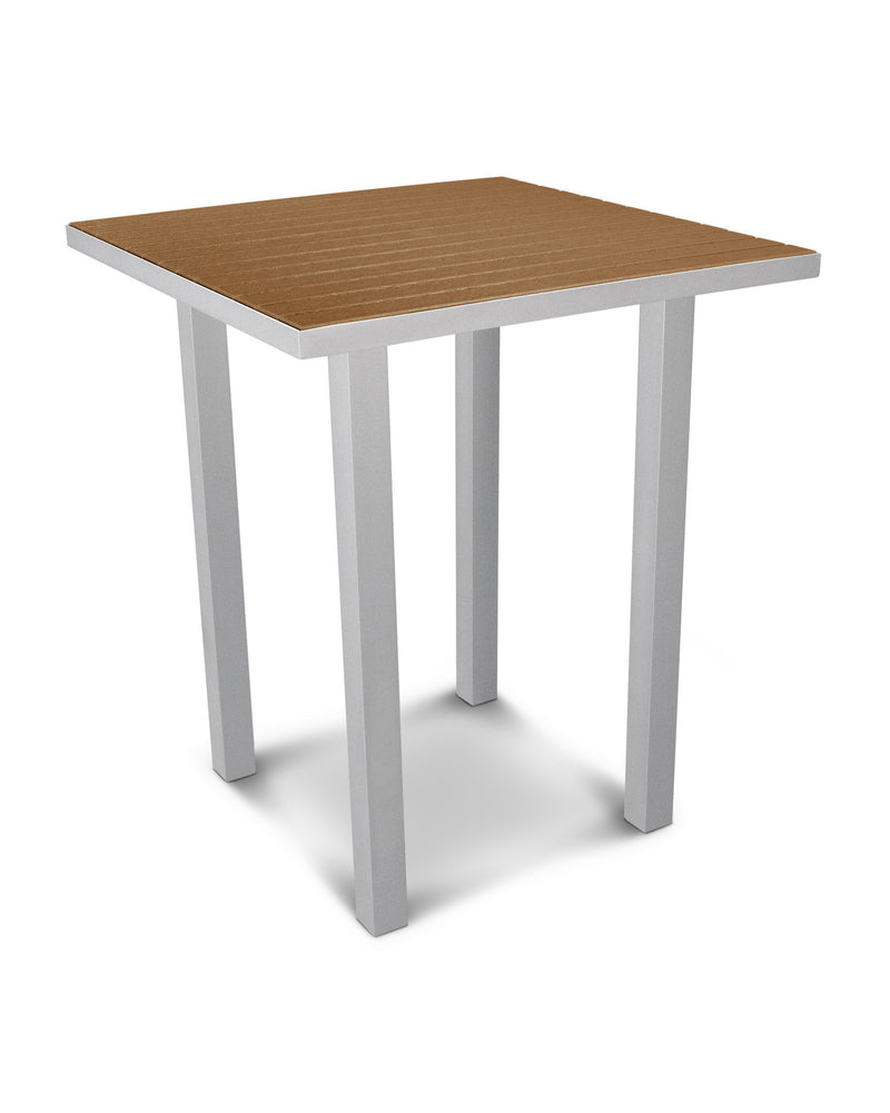 "ATB36FASTE Euro 36"" Square Bar Table in Textured Silver and Teak"
