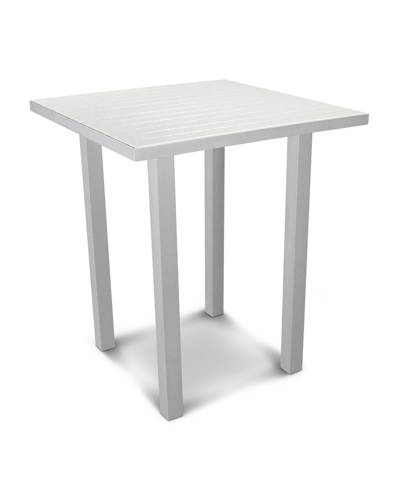 "ATB36FASWH Euro 36"" Square Bar Table in Textured Silver and White"