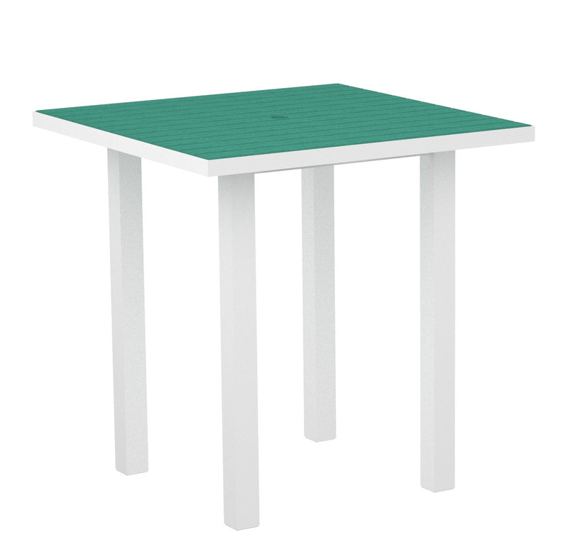 "ATR36-13AR Euro 36"" Square Counter Table in Satin White and Aruba"