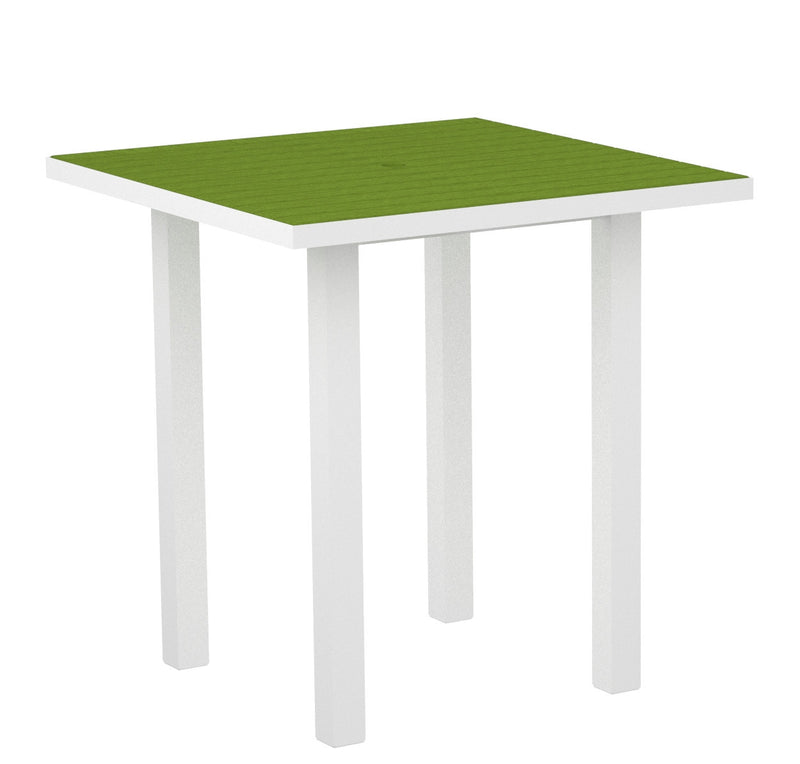 "ATR36-13LI Euro 36"" Square Counter Table in Satin White and Lime"