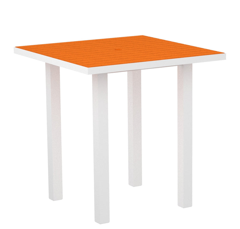 "ATR36-13TA Euro 36"" Square Counter Table in Satin White and Tangerine"