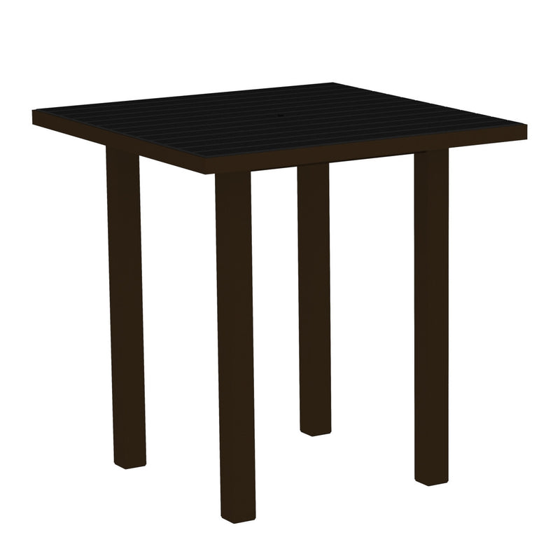 "ATR36-16BL Euro 36"" Square Counter Table in Textured Bronze and Black"