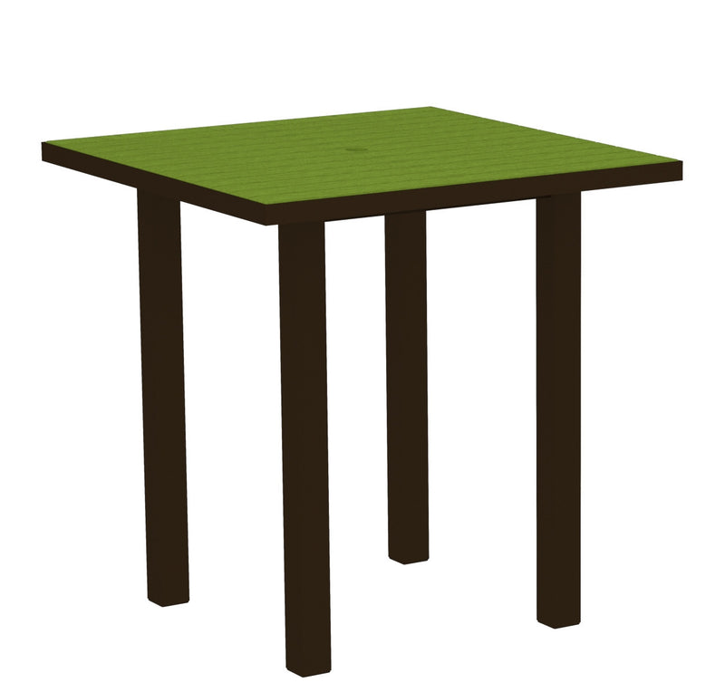 "ATR36-16LI Euro 36"" Square Counter Table in Textured Bronze and Lime"