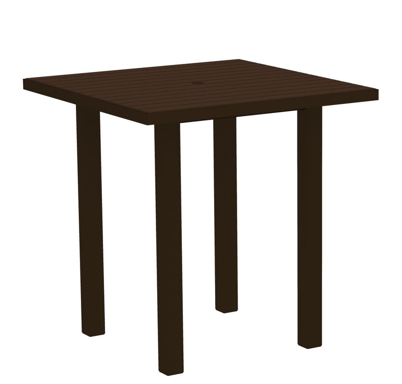 "ATR36-16MA Euro 36"" Square Counter Table in Textured Bronze and Mahogany"