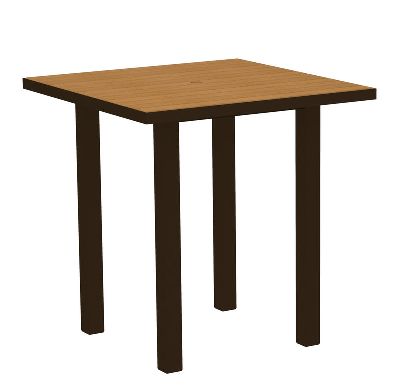 "ATR36-16NT Euro 36"" Square Counter Table in Textured Bronze and Plastique Natural Teak"