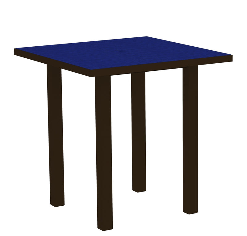 "ATR36-16PB Euro 36"" Square Counter Table in Textured Bronze and Pacific Blue"