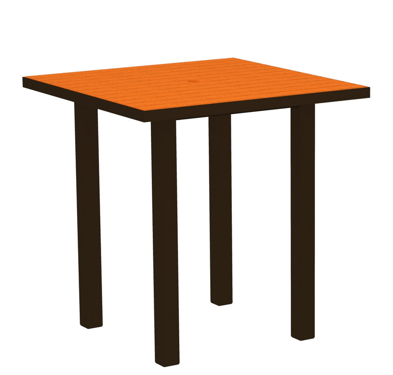 "ATR36-16TA Euro 36"" Square Counter Table in Textured Bronze and Tangerine"