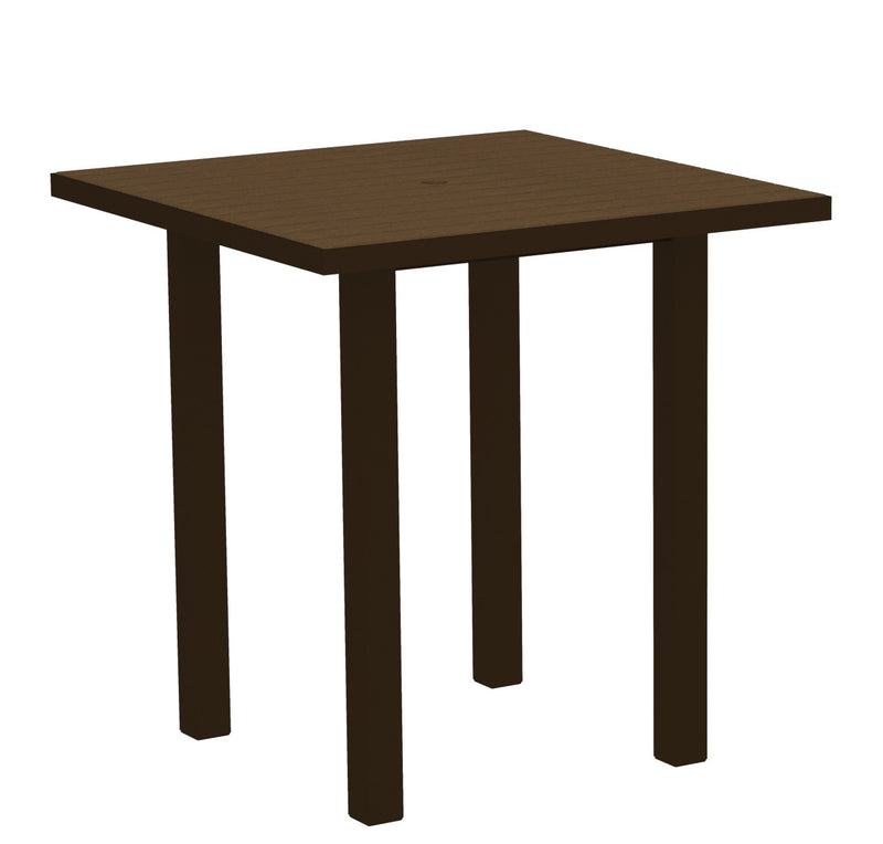 "ATR36-16TE Euro 36"" Square Counter Table in Textured Bronze and Teak"