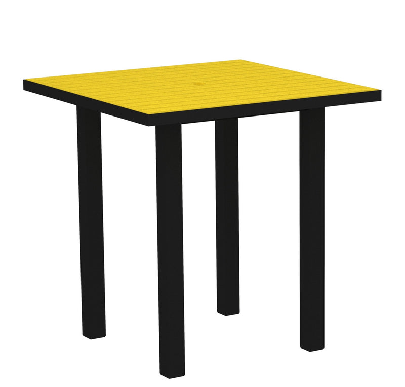 "ATR36FABLE Euro 36"" Square Counter Table in Textured Black and Lemon"