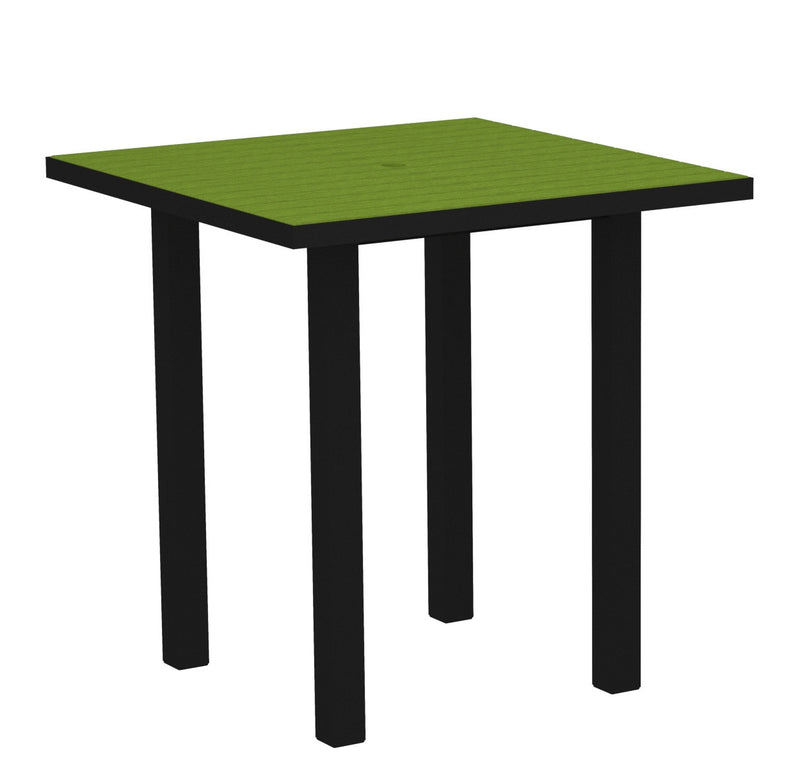 "ATR36FABLI Euro 36"" Square Counter Table in Textured Black and Lime"