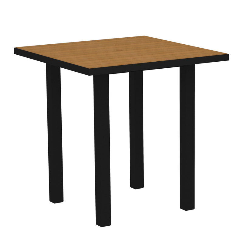 "ATR36FABNT Euro 36"" Square Counter Table in Textured Black and Plastique Natural Teak"