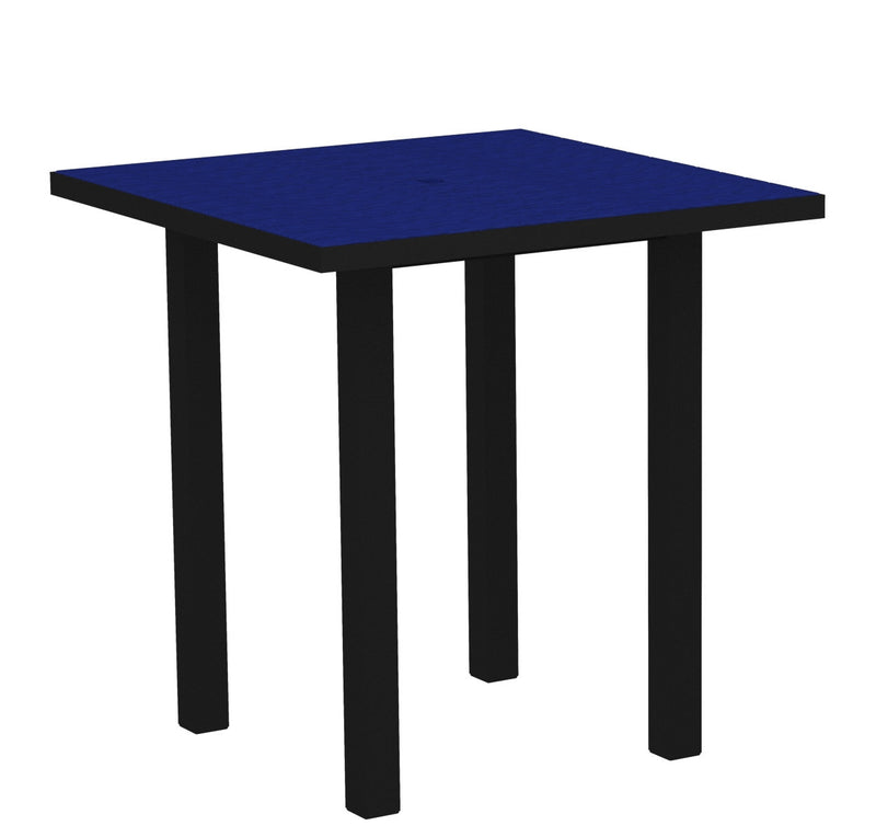 "ATR36FABPB Euro 36"" Square Counter Table in Textured Black and Pacific Blue"