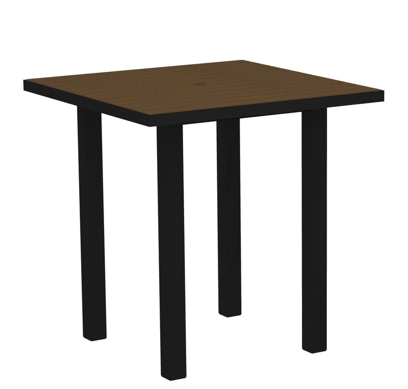 "ATR36FABTE Euro 36"" Square Counter Table in Textured Black and Teak"