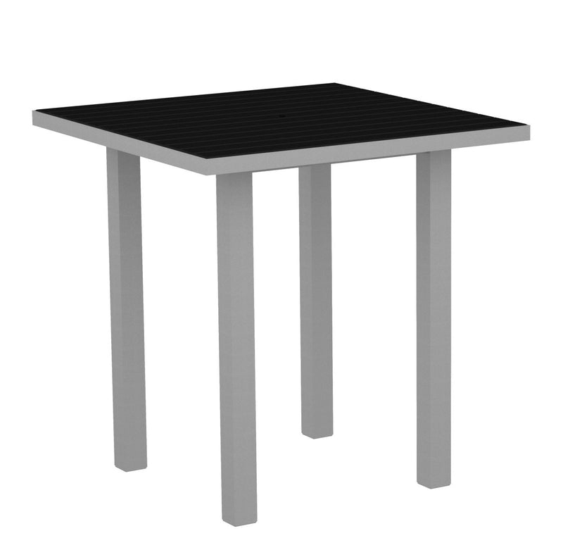 "ATR36FASBL Euro 36"" Square Counter Table in Textured Silver and Black"
