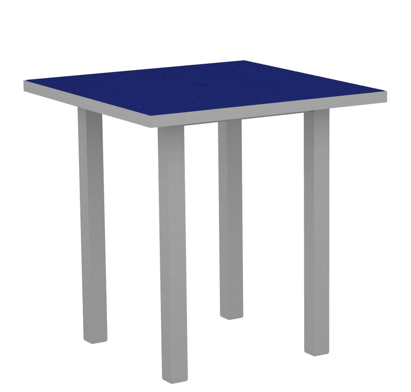 "ATR36FASPB Euro 36"" Square Counter Table in Textured Silver and Pacific Blue"