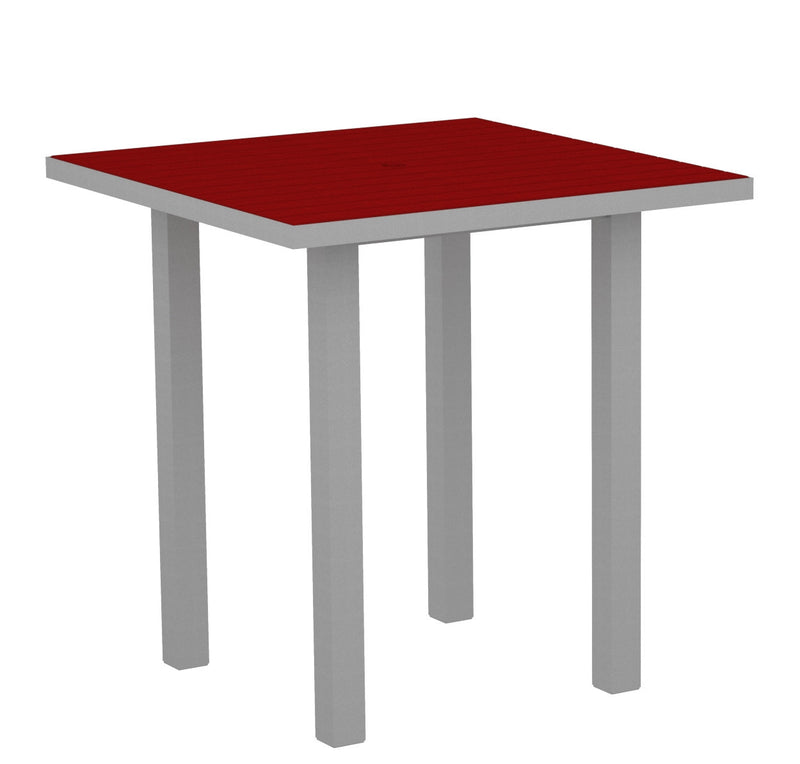 "ATR36FASSR Euro 36"" Square Counter Table in Textured Silver and Sunset Red"