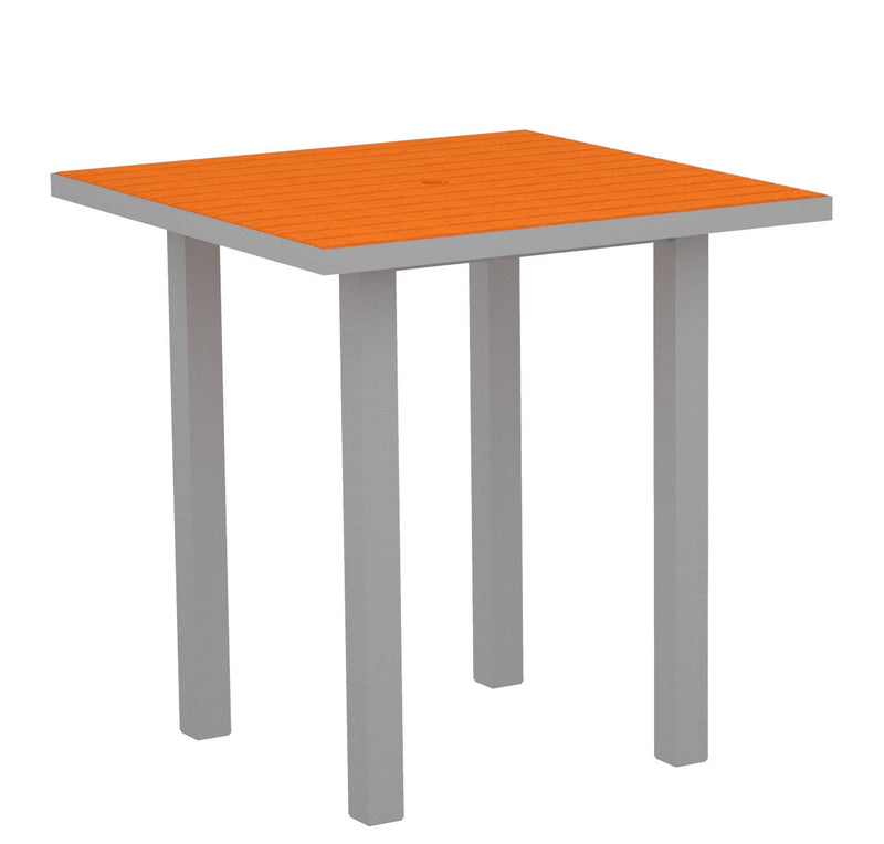"ATR36FASTA Euro 36"" Square Counter Table in Textured Silver and Tangerine"