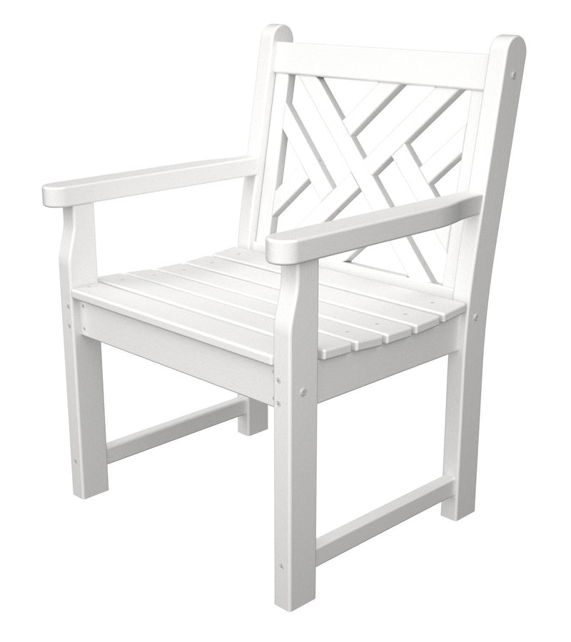 CDB24WH Chippendale Garden Arm Chair in White