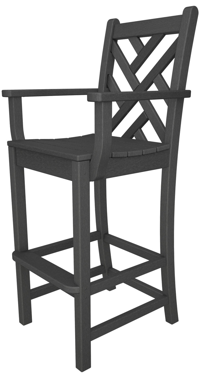 CDD202GY Chippendale Bar Arm Chair in Slate Grey