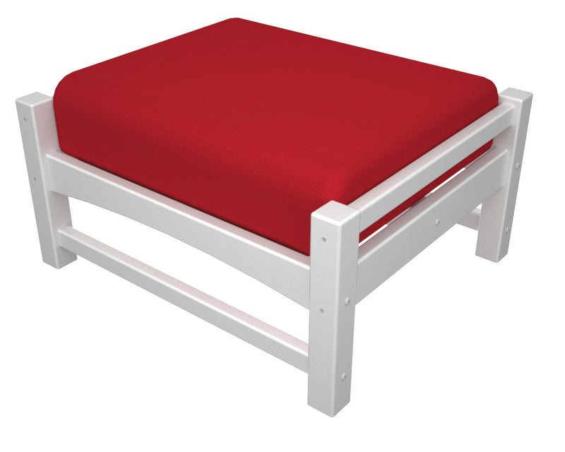 CLO23WH-5477 Club Deep Seating Ottoman with a White frame and Logo Red fabric