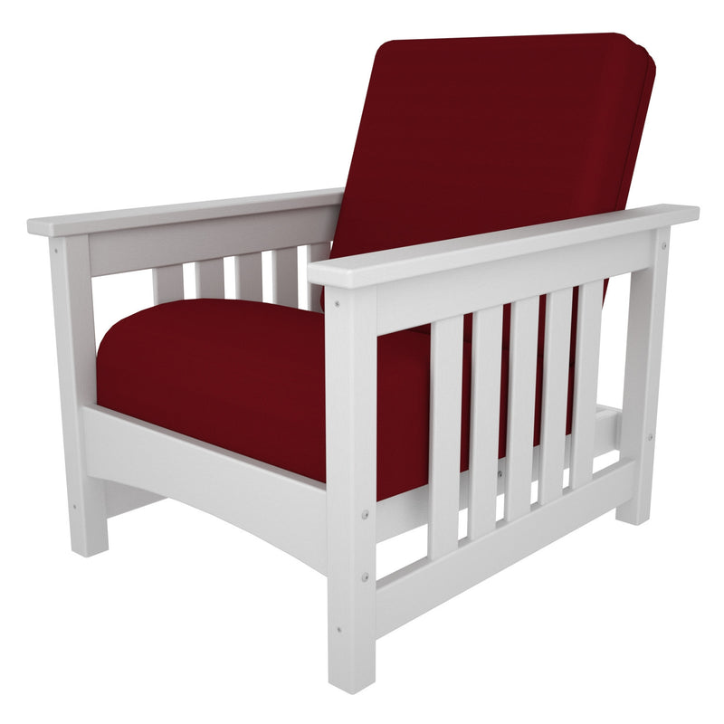 CMC23WH-5477 Mission Deep Seating Chair with a White frame and Logo Red fabric