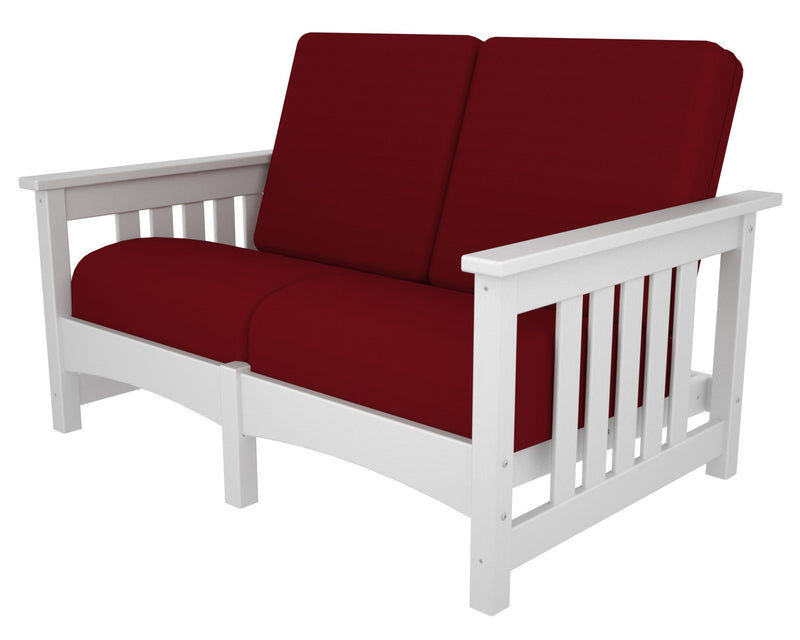 CMC47WH-5477 Mission Deep Seating Settee with a White frame and Logo Red fabric