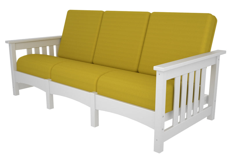 CMC71WH-5457 Mission Deep Seating Sofa with a White frame and Sunflower Yellow fabric