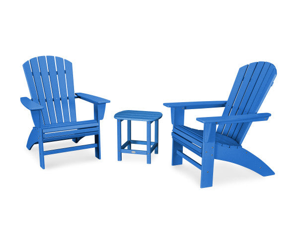Nautical 3 Piece Curveback Adirondack Set