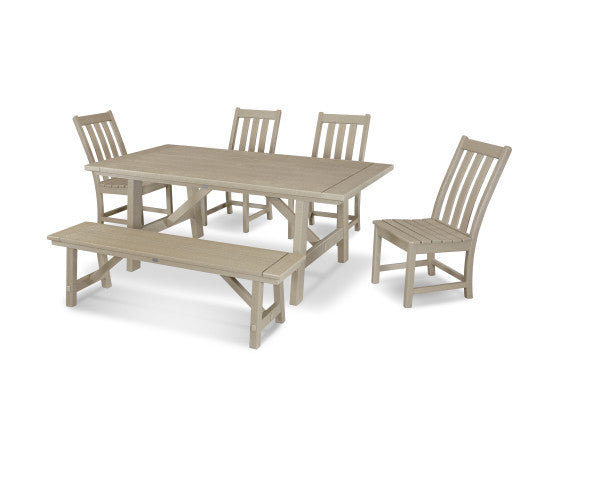 Vineyard 6 Piece Rustic Farmhouse Side Chair Dining Set with Bench