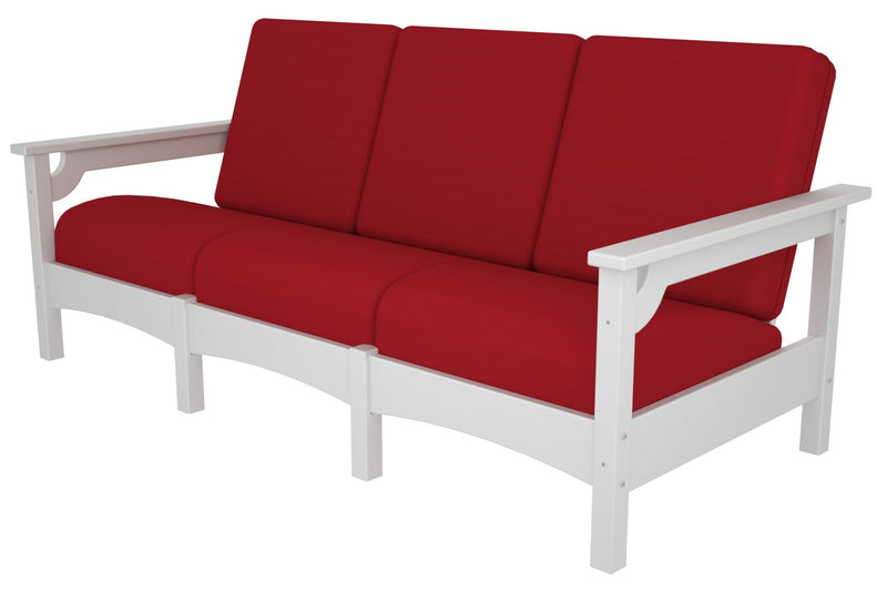 PWCLC71WH-5477 Club Deep Seating Sofa with a White frame and Logo Red fabric