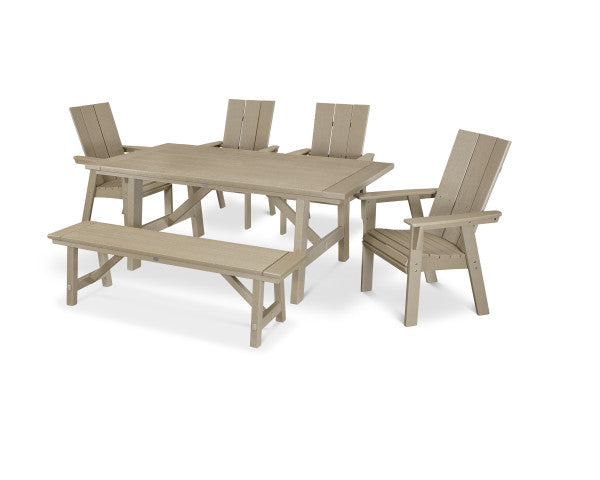 Modern Adirondack 6 Piece Rustic Farmhouse Dining Set with Bench
