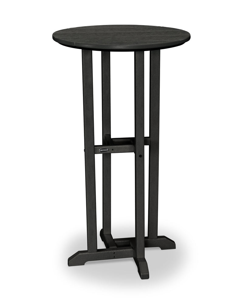 RBT124BL Traditional 24inch Round Bar Table in Black