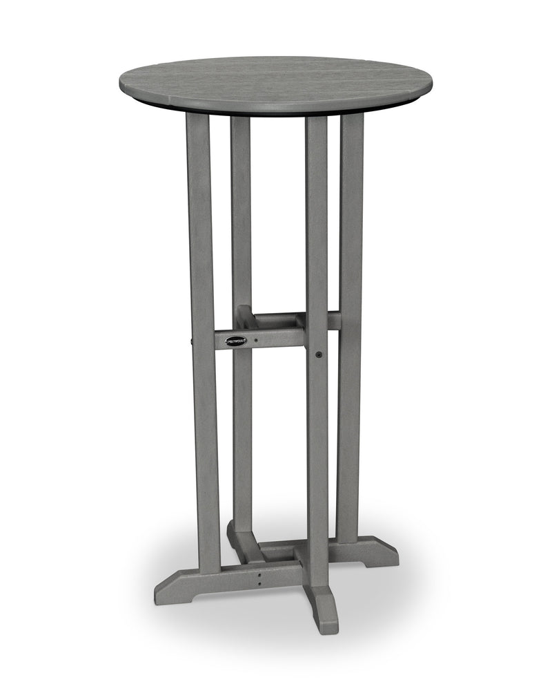 RBT124GY Traditional 24inch Round Bar Table in Slate Grey