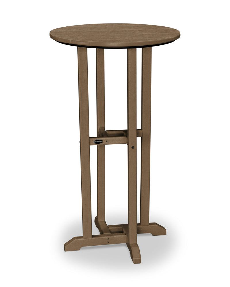 RBT124TE Traditional 24inch Round Bar Table in Teak