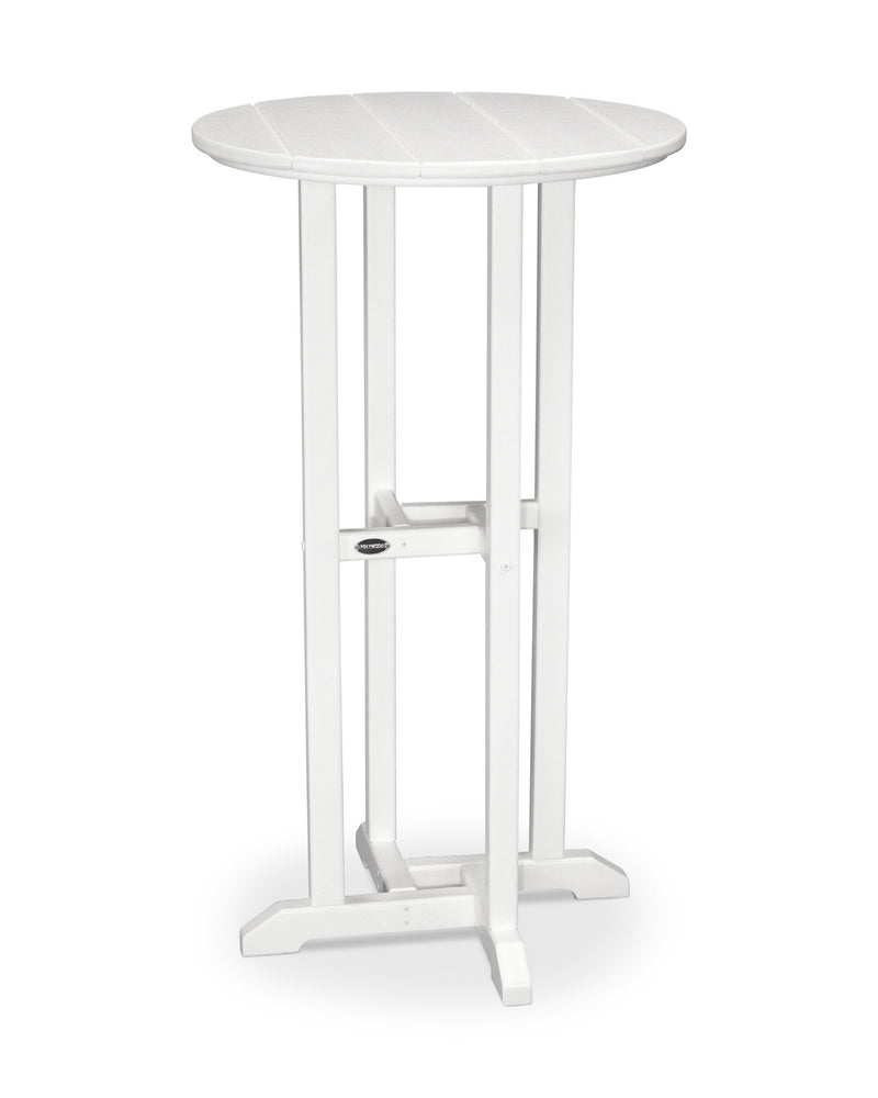 RBT124WH Traditional 24inch Round Bar Table in White