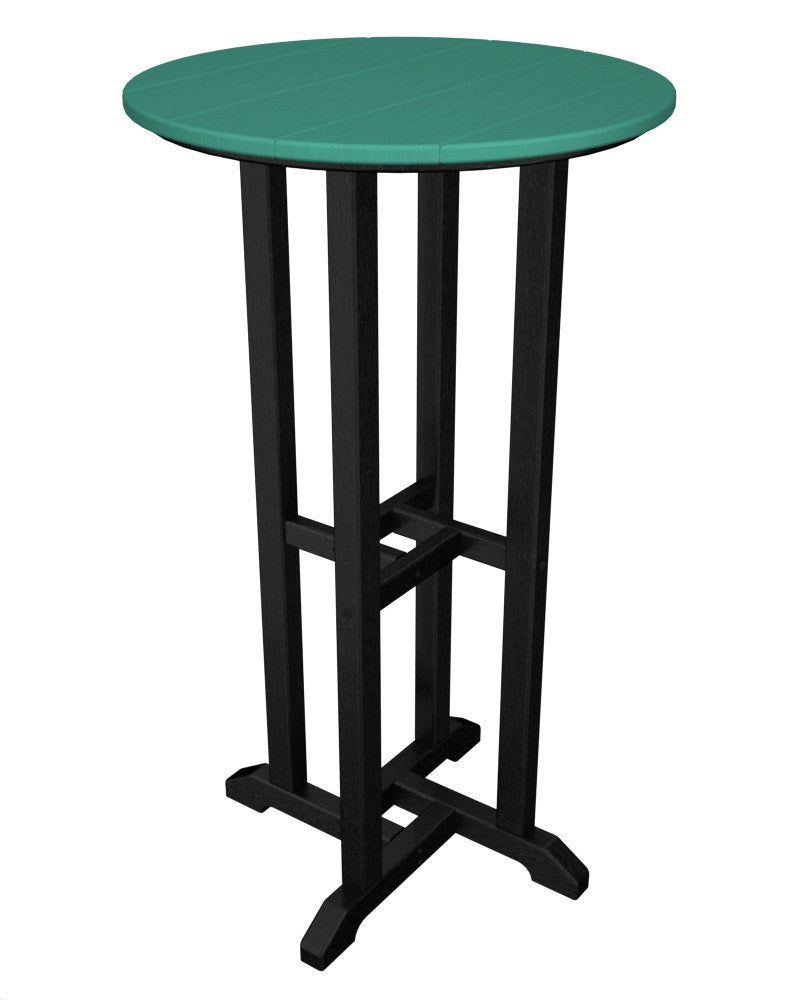 RBT224FBLAR Contempo 24inch Round Bar Table in Black and Aruba