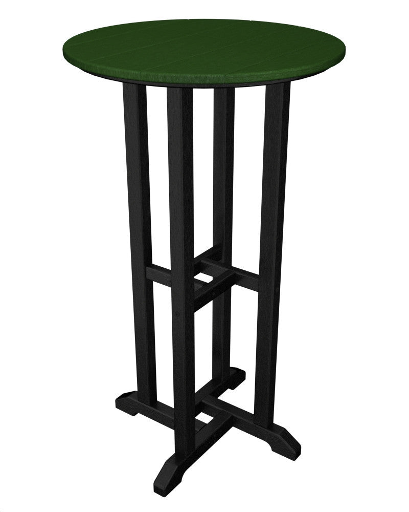 RBT224FBLGR Contempo 24inch Round Bar Table in Black and Green