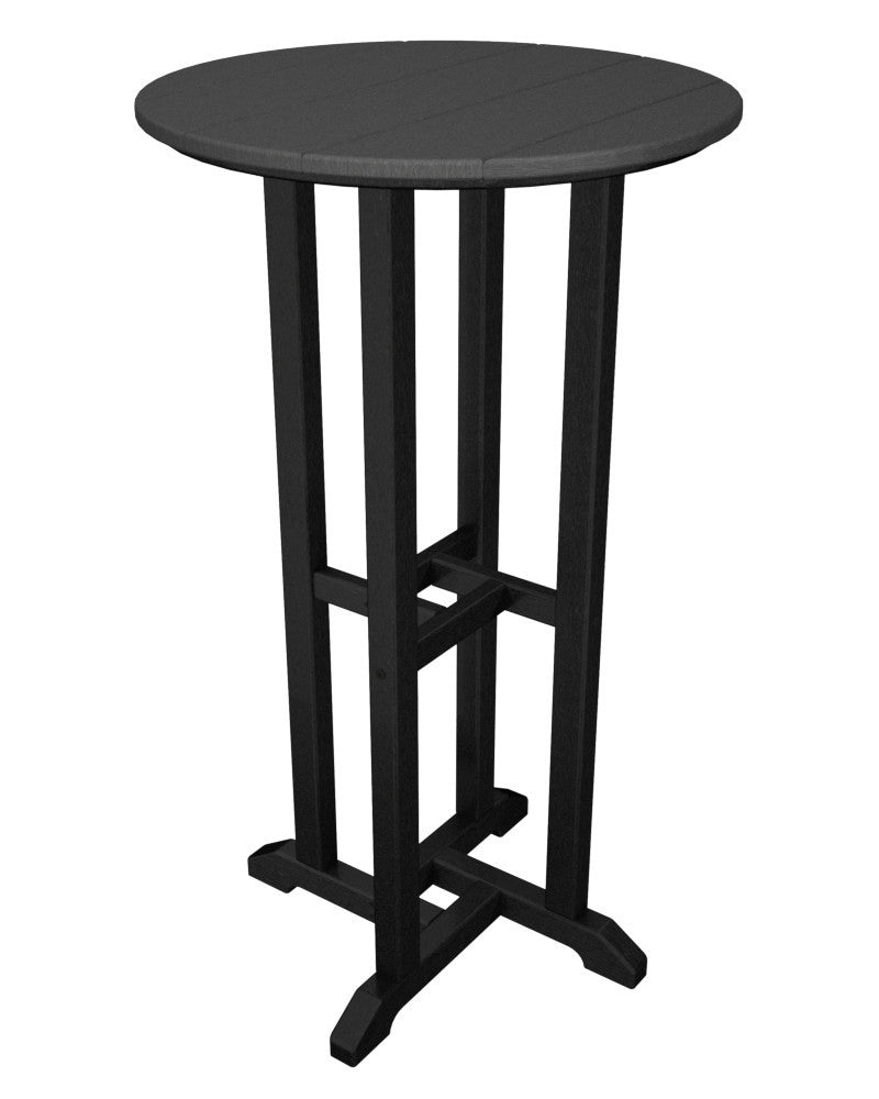 RBT224FBLGY Contempo 24inch Round Bar Table in Black and Slate Grey