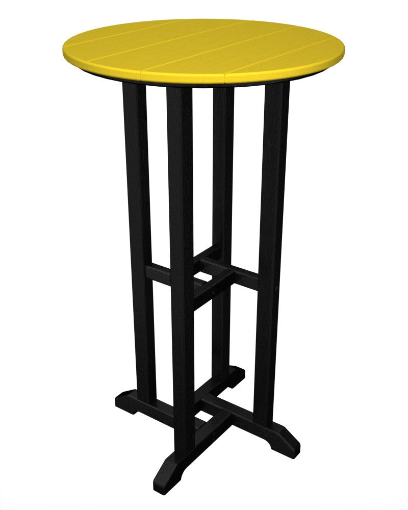 RBT224FBLLE Contempo 24inch Round Bar Table in Black and Lemon