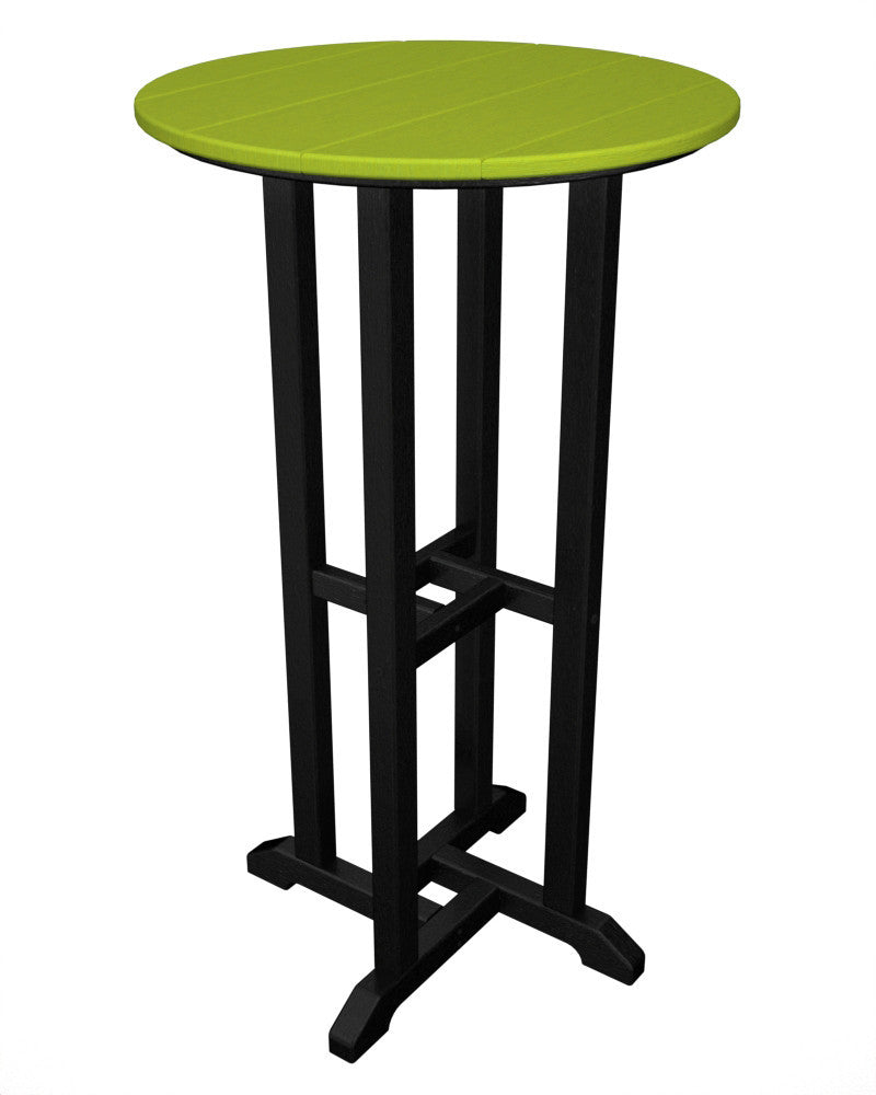 RBT224FBLLI Contempo 24inch Round Bar Table in Black and Lime