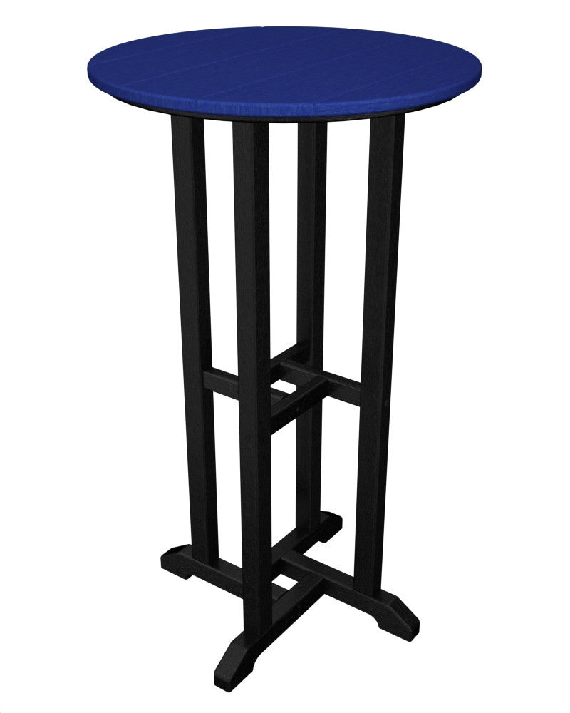 RBT224FBLPB Contempo 24inch Round Bar Table in Black and Pacific Blue